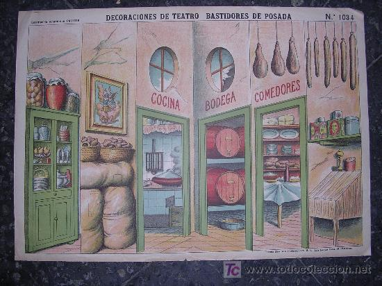 RECORTABLE DECORACIONES DE TEATRO BASTIDORES DE POSADA (Coleccionismo - Otros recortables)