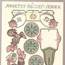Coleccionismo Recortables: JUGUETES FACILES. SERIE A. CARRO GALLO. 12 X 9 CM.. Lote 4903375