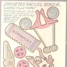 Coleccionismo Recortables: JUGUETES FACILES. SERIE A. CARRETILLA POPEI. 12 X 9 CM.. Lote 4903386