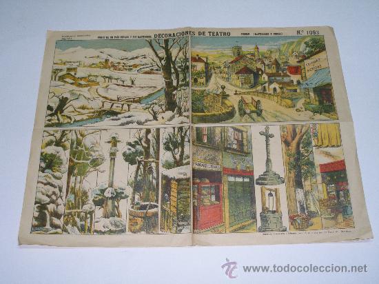 LÁMINA RECORTABLE DECORACIONES DE TEATRO PALUZIE Nº 1093 . PUEBLO ( BASTIDORES Y FONDO ) 39X30 CMS (Coleccionismo - Otros recortables)