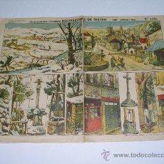 Coleccionismo Recortables: LÁMINA RECORTABLE DECORACIONES DE TEATRO PALUZIE Nº 1093 . PUEBLO ( BASTIDORES Y FONDO ) 39X30 CMS. Lote 27220762