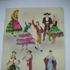Coleccionismo Recortables: FIGURAS RECORTABLES ORIGINALES DE TRAJES REGIONALES DIBUJADAS A MANO : MADRID , TOLEDO , CUENCA ... Lote 26132491