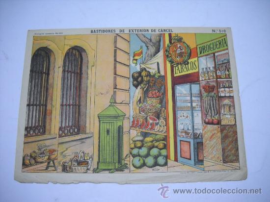 RECORTABLE PALUZIE Nº 510. BASTIDORES DE EXTERIOR DE LA CARCEL, 40X29 CMS (Coleccionismo - Otros recortables)
