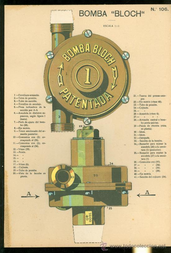 LAMINA CON ESQUEMA TROQUELADO. BOMBA BLOCH. Nº 106. 1915. (Coleccionismo - Otros recortables)