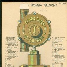 Coleccionismo Recortables: LAMINA CON ESQUEMA TROQUELADO. BOMBA BLOCH. Nº 106. 1915. . Lote 25121403