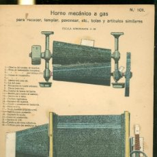 Coleccionismo Recortables: LAMINA CON ESQUEMA TROQUELADO. HORNO MECANICO A GAS. Nº 101. 1915. . Lote 25121510