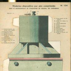 Coleccionismo Recortables: LAMINA CON ESQUEMA TROQUELADO. MODERNO DISPOSITIVO POR AIRE COMPRIMIDO Nº 124. 1915.. Lote 25121616