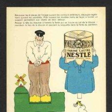 Coleccionismo Recortables: RECORTABLE NESTLE. MOLINO DE VIENTO Y PERSONAJE HOLANDES. PERRO. Lote 28714046
