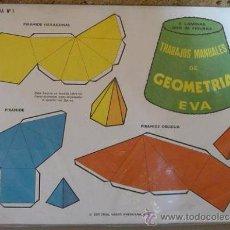 Coleccionismo Recortables: TRABAJOS MANUALES DE GEOMATRIA EVA - 8 LAMINAS CON 25 FIGURAS - ED.VASCO AMERICANA 1975. Lote 29774897