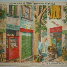 Coleccionismo Recortables: DECORACIONES DE TEATRO. BASTIDORES DE PUEBLO. PALUZIE, Nº 1038. (40 X 29 CM). Lote 32256536