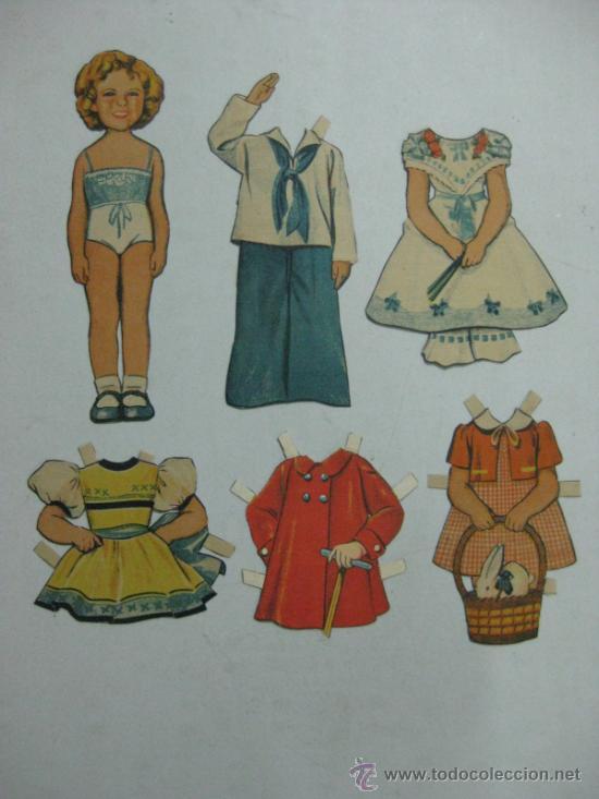 ANTIGUO RECORTABLE SHIRLEY TEMPLE - AÑOS 1930 - TROQUELADO - 6 PIEZAS VER FOTOS (Coleccionismo - Otros recortables)