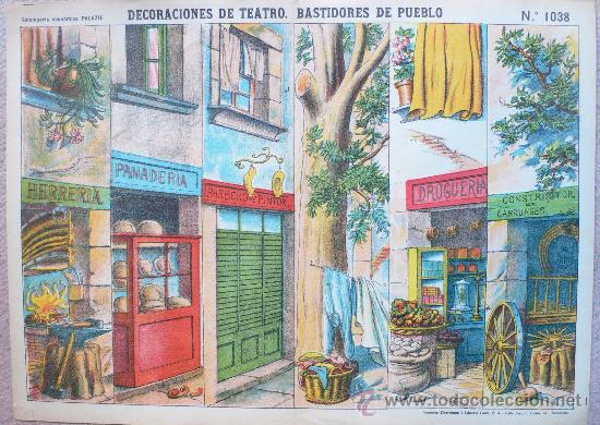 DECORACIONES DE TEATRO- BASTIDORES DE PUEBLO - Nº 1038 -ESTAMPERIA PALUZIE. -VELL I BELL (Coleccionismo - Otros recortables)