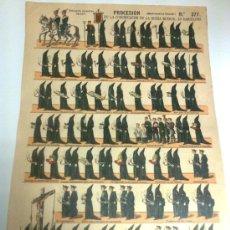Coleccionismo Recortables: PROCESION DE LA CONGREGACION DE LA BUENA MUERTE, EN BARCELONA. MIERCOLES DE CENIZA Nº 377. PALUZIE. . Lote 133809563