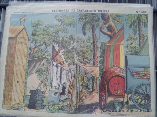 RECORTABLE DECORACIONES DE TEATRO BASTIDORES DE CAMPAMENTO MILIAR Nº 504 PALUZIE (Coleccionismo - Otros recortables)