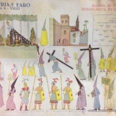 Coleccionismo Recortables: RARÍSIMO RECORTABLE SEMANA SANTA DE SEVILLA. AÑOS 30 - 40. INDUSTRIAS FARO . VIGO. TAMAÑO 33 X 34 CM. Lote 45132979
