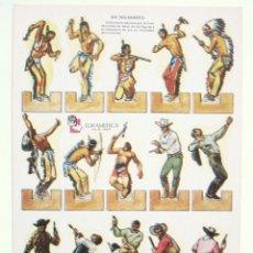 Coleccionismo Recortables: LAMINA RECORTABLE INDIOS Y VAQUEROS. RECORTABLES ZAS SERIE A Nº 1 EURAMERICA AÑOS 50 - 60. Lote 46098126