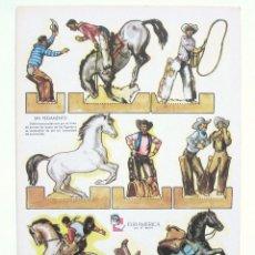 Coleccionismo Recortables: LAMINA RECORTABLE RODEO DE VAQUEROS. RECORTABLES ZAS SERIE A Nº 3 EURAMERICA AÑOS 50 - 60. Lote 46098155