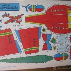 Coleccionismo Recortables: LÁMINA RECORTABLE BRUGUERA. AVIÓN LANZAPARACAIDISTAS. 1959. ORIGINAL.. Lote 52448132