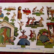 Coleccionismo Recortables: ANTIGUA Y ORIGINAL LÁMINA RECORTABLE EL LOBO Y LOS SIETE CABRITOS .COLEC. BILLIKEN 44 X30 CM. Lote 53345004