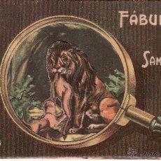 Coleccionismo Recortables: RELIEVES BASA Y PAGES - FABULAS DE SAMANIEGO Nº 1 - LA CIERVA Y EL LEON - TARJETA TROQUELADA. Lote 54153414