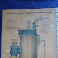 Coleccionismo Recortables: LÁMINA CALENTADOR DE AGUA PARA LA ALIMENTACIÓN DE LAS CALDERAS DE VAPOR / Nº 91 / TROQUELADO. Lote 56798420
