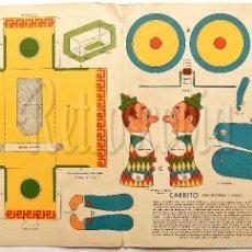 Coleccionismo Recortables: LAMINA RECORTABLE CARRITO CON PAYASO CIRCO COLECCIÓN DE LA REVISTA ARGENTINA BILLIKEN AÑOS 50. Lote 57765704