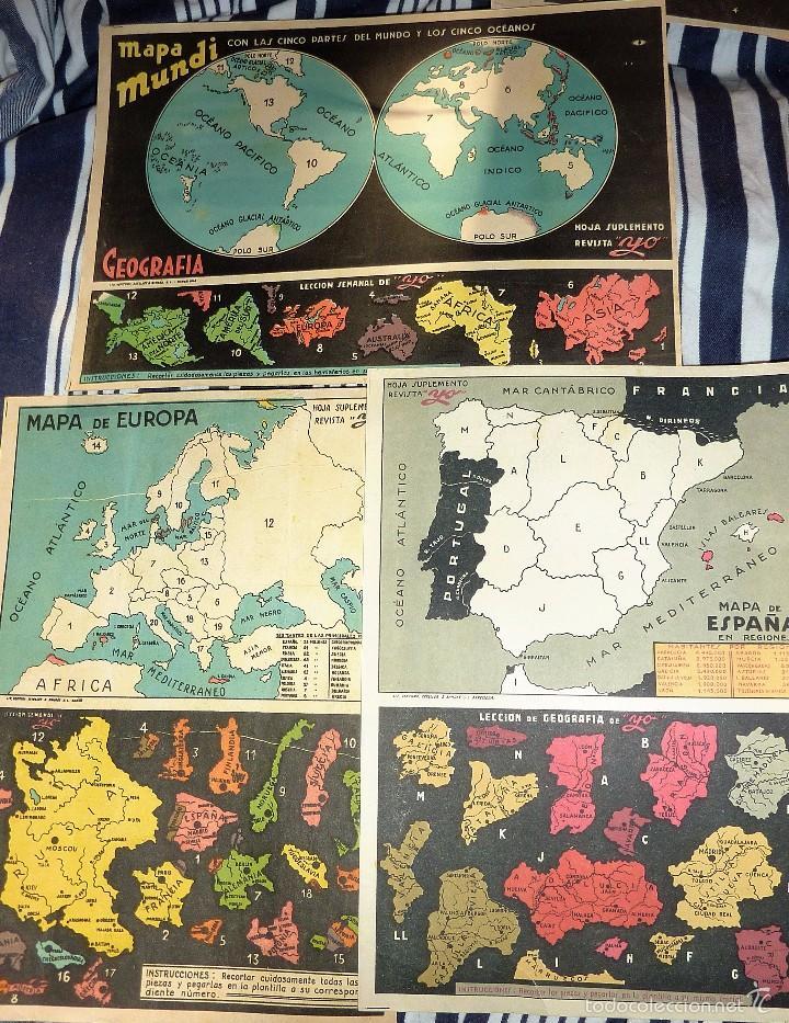 Coleccionismo Recortables: 3 suplemento revista yo . recortable . 27 /18 cm lit ventura mapa mundi europa españa geografia - Foto 3 - 58088139