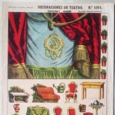 Coleccionismo Recortables: ESTAMPERIA PALUZIE. DECORACIONES DE TEATRO. Nº 1061. TELON Y ACCESORIOS. 26 X 38 CMS.. VELL I BELL.. Lote 60845555