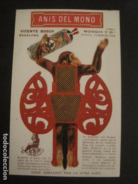 Coleccionismo Recortables: ANIS DEL MONO - TARJETA RECORTABLE - MONO EN EL BALANCIN CON BOTELLA -VER FOTOS -(V-6819) - Foto 5 - 63809467