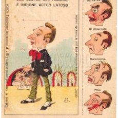 Coleccionismo Recortables: LAMINA RECORTABLE COMICA GESTOS DEL ACTOR LATOSO. CHOCOLATES MATEO MARTIN GARCIA SALAMANCA 1950. Lote 69245417