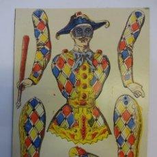 Coleccionismo Recortables: PAYASO O ARLEQUIN TROQUELADO EN CARTÓN. CIRCO.MED: 24 X 17 CTMS.. Lote 79132545