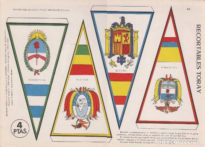 BANDERINES: ESPAÑA, ARGENTINA, BOLIVIA Y COLOMBIA. AÑO 1969, RECORTABLES TORAY Nº 174 (Coleccionismo - Otros recortables)