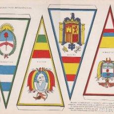 Coleccionismo Recortables: BANDERINES: ESPAÑA, ARGENTINA, BOLIVIA Y COLOMBIA. AÑO 1969, RECORTABLES TORAY Nº 174. Lote 98232527
