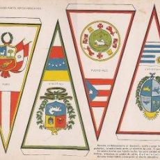 Coleccionismo Recortables: BANDERINES: PERU, VENEZUELA, PUERTO RICO Y URUGUAY. AÑO 1969, RECORTABLES TORAY Nº 176. Lote 98232743