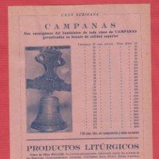 Coleccionismo Recortables: PUBLICIDAD DE: CASA SUBIRANA CAMPANAS Y PRODUCTOS LITÚRGICOS BARCELONA AÑO 1930 PB100. Lote 117191415