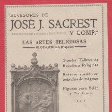 Coleccionismo Recortables: PUBLICIDAD DE: SUCESORES DE JOSÉ J. SACREST Y CÍA. LAS ARTES RELIGIOSAS OLOT-GERONA 1929 PB101 . Lote 117191759