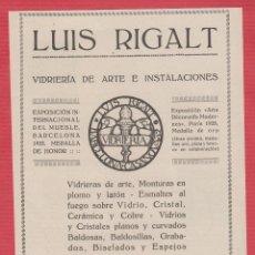 Coleccionismo Recortables: PUBLICIDAD DE: LUIS RIGALT VIDRIERÍA DE ARTE E INSTALACIONES BARCELONA AÑO 1929 PB102. Lote 117191959