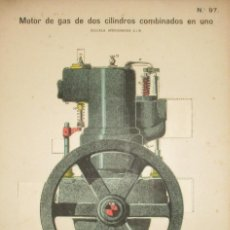 Coleccionismo Recortables: MOTOR DE GAS DE 2 CILINDROS COMBINADOS. LÁMINA 97 DE LA REVISTA EL MUNDO CIENTÍFICO. AÑOS 10/20.. Lote 130165091