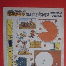 Coleccionismo Recortables: RECORTABLES 'WALT DISNEY'. SERIE ''DUMBO'' Nº 1. EDITORIAL VILCAR TAMAÑO 25X35 CM. . Lote 132752390
