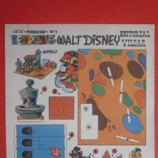 Coleccionismo Recortables: RECORTABLES 'WALT DISNEY'. SERIE ''PINOCHO'' Nº 1. EDITORIAL VILCAR TAMAÑO 25X35 CM. . Lote 132752678