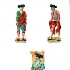 Coleccionismo Recortables: TRES FIGURAS DE TOREROS RECORTADAS. Lote 137108722