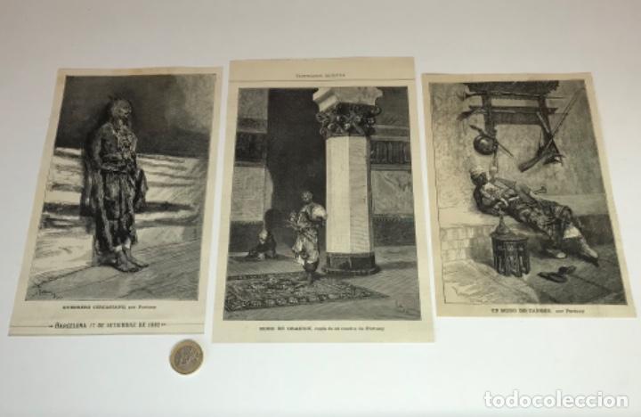 Coleccionismo Recortables: Lote de 52 grabados de Ilustración Artistica de 1882 1883. Fabres, Berta Wegmann, Velázquez, Fortuny - Foto 3 - 139846882
