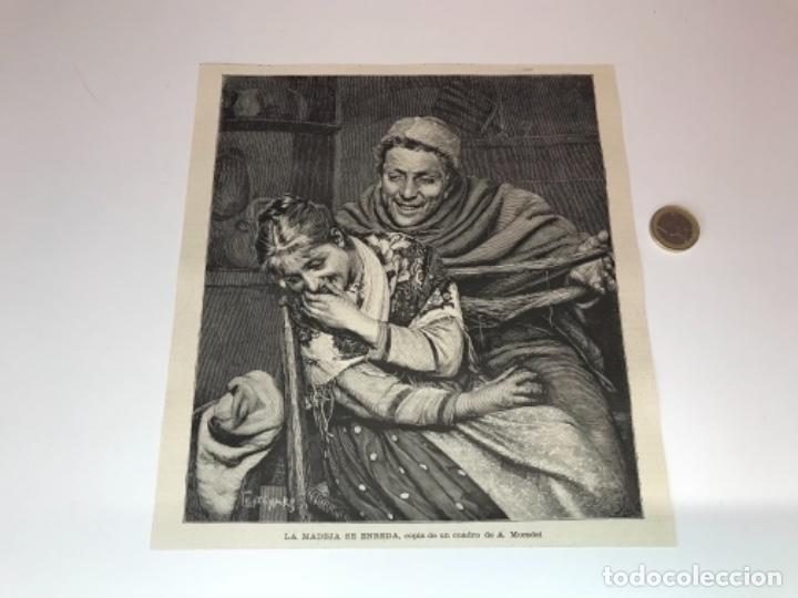 Coleccionismo Recortables: Lote de 52 grabados de Ilustración Artistica de 1882 1883. Fabres, Berta Wegmann, Velázquez, Fortuny - Foto 12 - 139846882