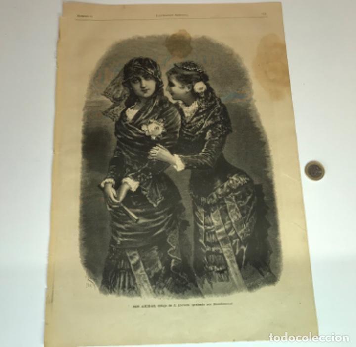 Coleccionismo Recortables: Lote de 52 grabados de Ilustración Artistica de 1882 1883. Fabres, Berta Wegmann, Velázquez, Fortuny - Foto 15 - 139846882