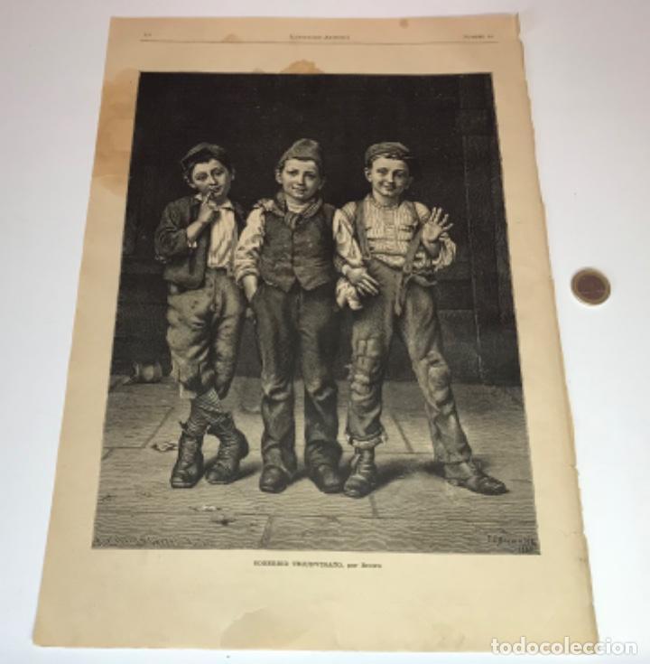 Coleccionismo Recortables: Lote de 52 grabados de Ilustración Artistica de 1882 1883. Fabres, Berta Wegmann, Velázquez, Fortuny - Foto 16 - 139846882