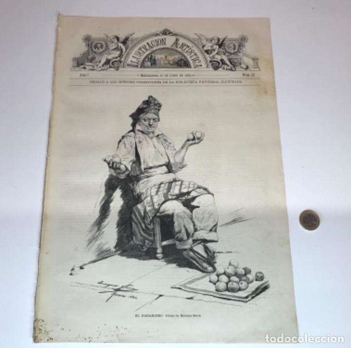 Coleccionismo Recortables: Lote de 52 grabados de Ilustración Artistica de 1882 1883. Fabres, Berta Wegmann, Velázquez, Fortuny - Foto 17 - 139846882