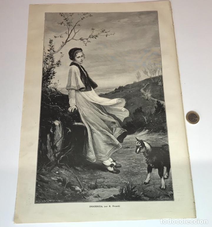 Coleccionismo Recortables: Lote de 52 grabados de Ilustración Artistica de 1882 1883. Fabres, Berta Wegmann, Velázquez, Fortuny - Foto 18 - 139846882