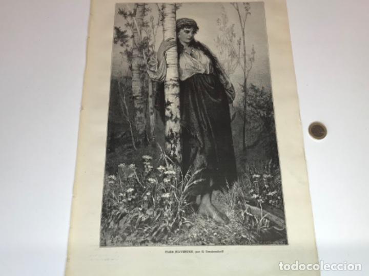 Coleccionismo Recortables: Lote de 52 grabados de Ilustración Artistica de 1882 1883. Fabres, Berta Wegmann, Velázquez, Fortuny - Foto 19 - 139846882
