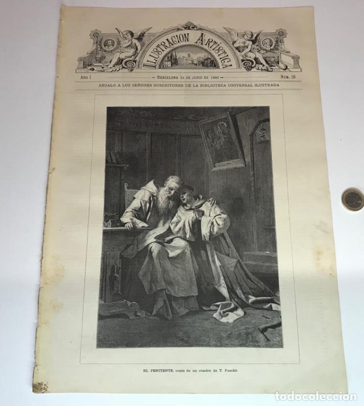 Coleccionismo Recortables: Lote de 52 grabados de Ilustración Artistica de 1882 1883. Fabres, Berta Wegmann, Velázquez, Fortuny - Foto 20 - 139846882