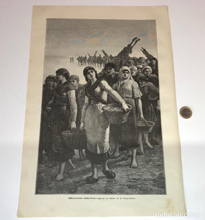 Coleccionismo Recortables: Lote de 52 grabados de Ilustración Artistica de 1882 1883. Fabres, Berta Wegmann, Velázquez, Fortuny - Foto 22 - 139846882